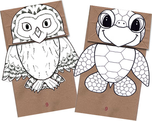 Cute paper bag puppet patterns. Printable patterns and directions. Kid ...